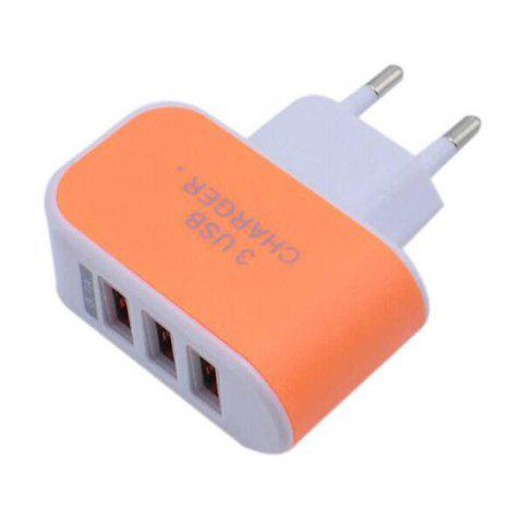 Best 3USB Candy Charger LED Light Mobile Charging Head Smart Multi-Port USB Charger Travel To The EU Standard