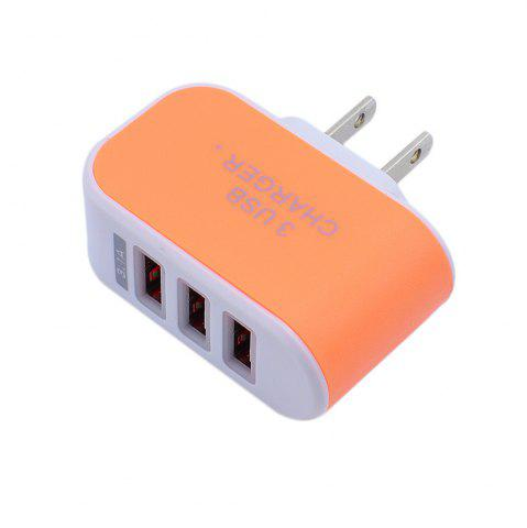 Shops 3USB Candy Charger LED Light Mobile Charging Head Smart Multi-Port USB Charger Travel To The American Standard
