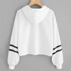 Women's Fashion Letters Printed Short Paragraph Long-Sleeved Hooded Sweatshirt -
