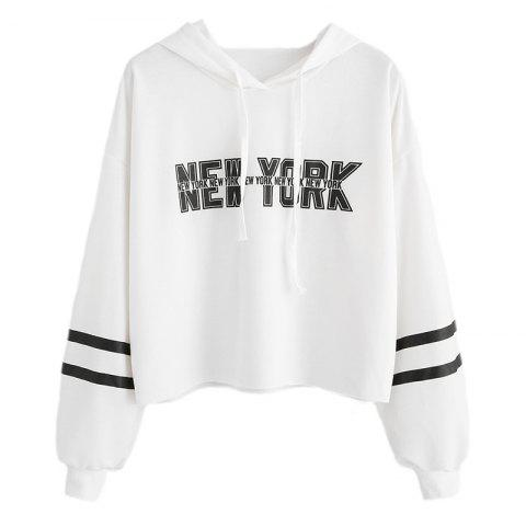 Shops Women's Fashion Letters Printed Short Paragraph Long-Sleeved Hooded Sweatshirt