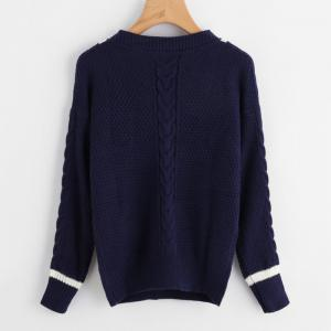 Women's V-Neck Sexy Long Sleeve Hit Color Sweater -
