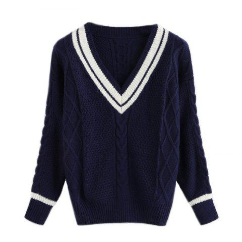 Trendy Women's V-Neck Sexy Long Sleeve Hit Color Sweater
