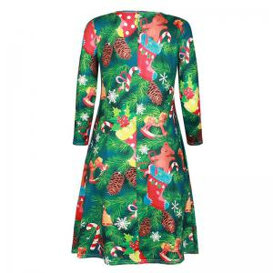 Women's Fashion Round Neck Christmas Print Long-Sleeved Dress -
