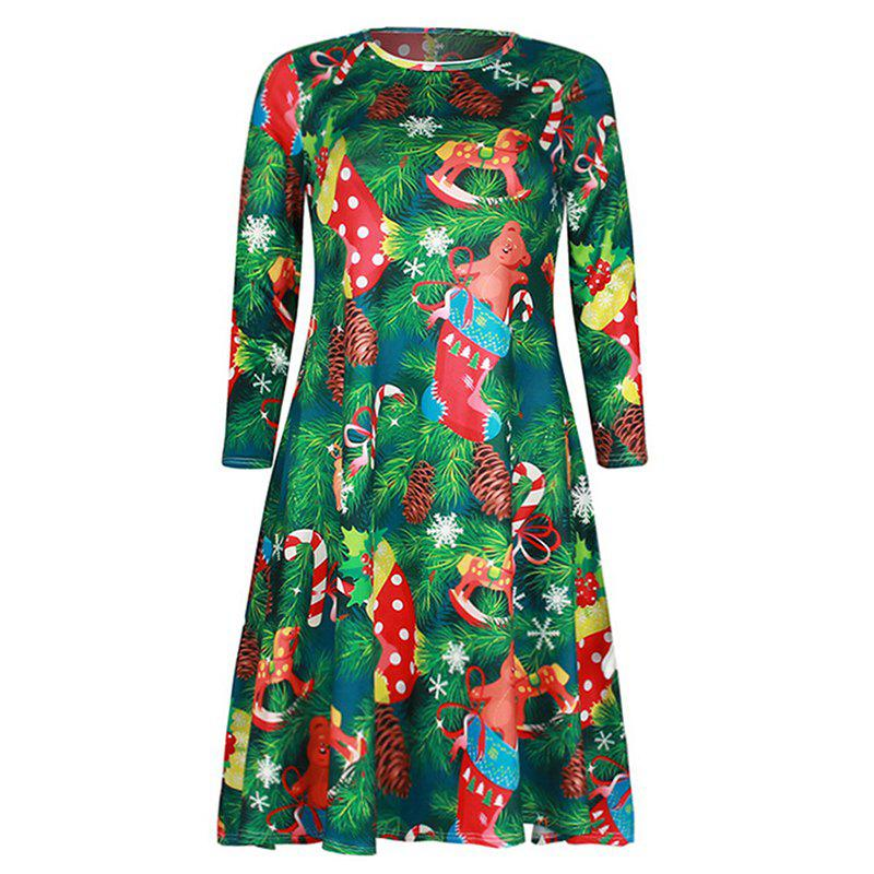 Latest Women's Fashion Round Neck Christmas Print Long-Sleeved Dress