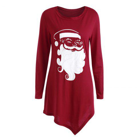 Fashion Women'S Fashionable Round Neck Santa Claus Print Long-Sleeved Dress