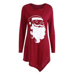 Women'S Fashionable Round Neck Santa Claus Print Long-Sleeved Dress -