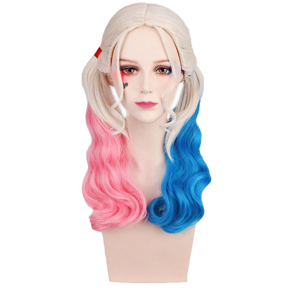 New Long Blonde Ombre Blue and Pink Wavy Braid Hair Heat Resistant Synthetic Cosplay Wigs