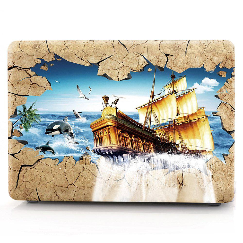Outfits Computer Shell Laptop Case Keyboard Film for MacBook New Pro 15.4 inch Touch 2016 3D Sailing Boat