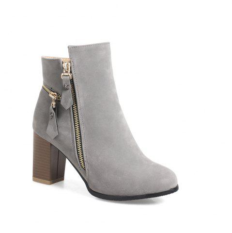 Fashion Frosted Five Pointed Star Zipper Ladies Short Boots