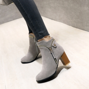Fashion Studs Buckle Strap Chunky Heel Ankle Boots -