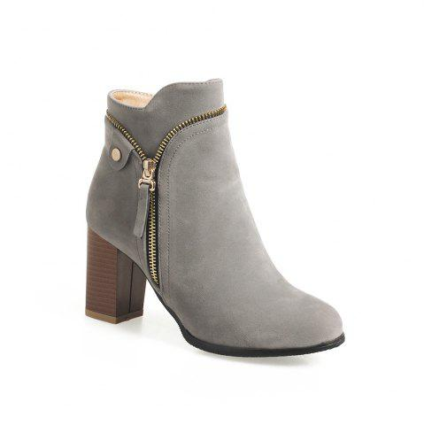 Buy Fashion Studs Buckle Strap Chunky Heel Ankle Boots