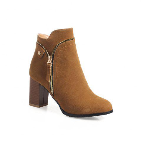 Outfit Fashion Studs Buckle Strap Chunky Heel Ankle Boots