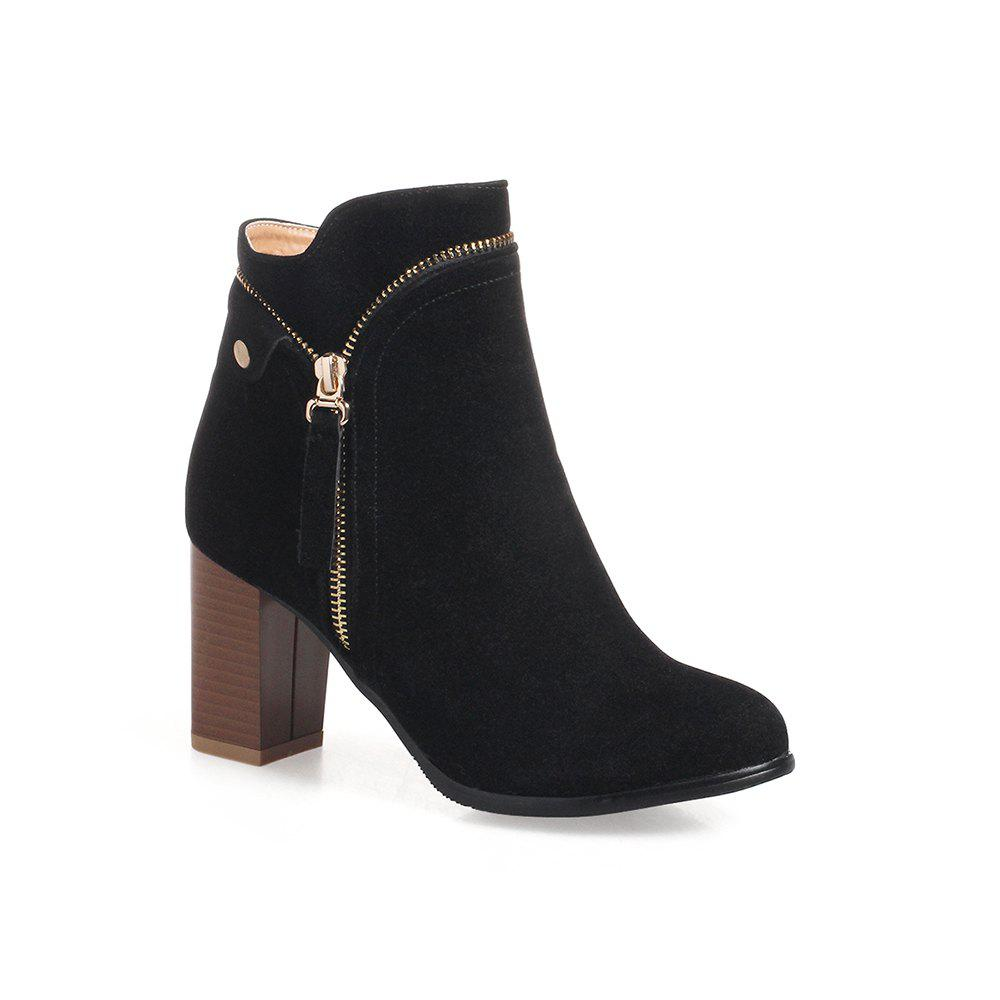 Unique Fashion Studs Buckle Strap Chunky Heel Ankle Boots