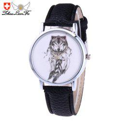 ZhouLianFa Trends Fashion Womens Belt Wolf Figure Quartz Women'S Watch - Black