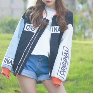Women's Bomber Jacket Color Block Stand Collar Warm Stylish Bomber Jacket -