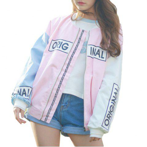 Cheap Women's Bomber Jacket Color Block Stand Collar Warm Stylish Bomber Jacket