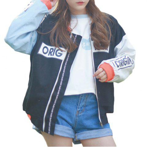 Store Women's Bomber Jacket Color Block Stand Collar Warm Stylish Bomber Jacket