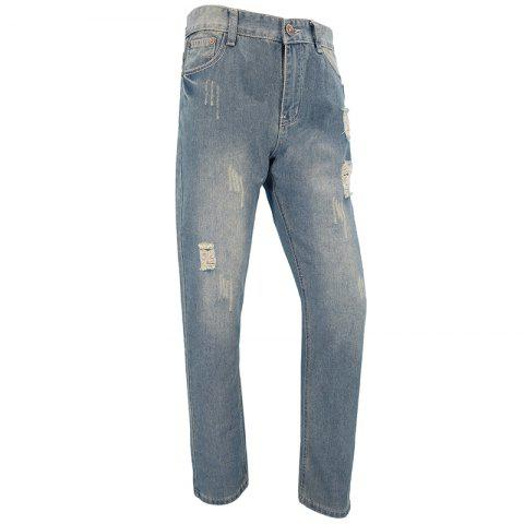 Hot Mens Casual European and American Fashion Trends Slim Straight Jeans Trousers