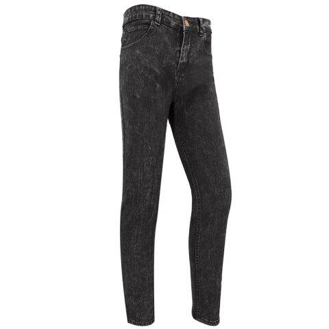 Outfit Men'S Casual European and American Fashion Pure Solid Color Simple Slim Straight Leg Pants Jeans