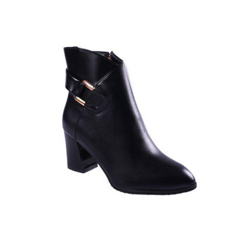 Hot 2017 New Rough with High-Heeled Belt Buckle Women'S Boots