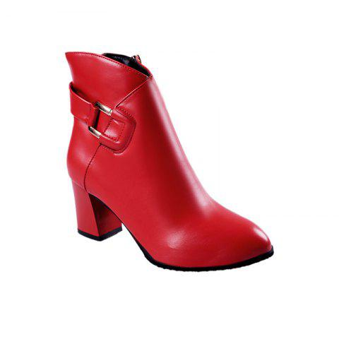 Buy 2017 New Rough with High-Heeled Belt Buckle Women'S Boots