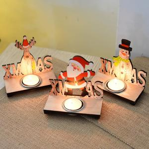 Wooden Santa Claus Decorate The Christmas Candlestick -
