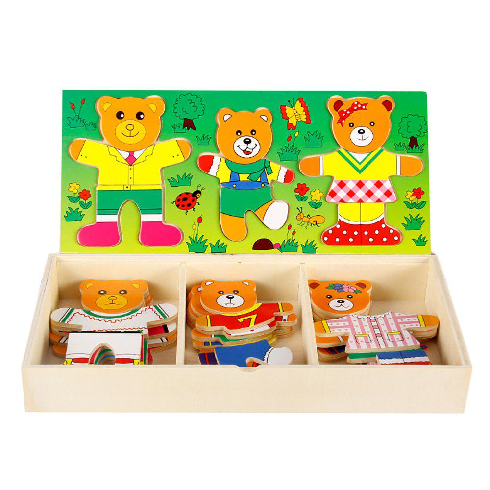 Fancy Wooden Bear Puzzle Early Education Toy