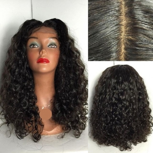 Peruvian Human Hair Lace Wig Deep Curly Lace Front Wig Middle Part Glueless Lace Front Wig for Black Women -