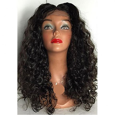 Hot Peruvian Human Hair Lace Wig Deep Curly Lace Front Wig Middle Part Glueless Lace Front Wig for Black Women