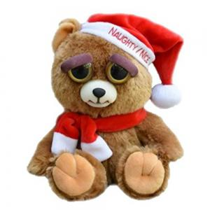 Adorable Plush Stuffed Polar Christmas bear Toy with Face-changing Function -