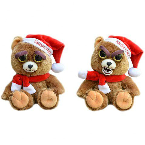 Trendy Adorable Plush Stuffed Polar Christmas bear Toy with Face-changing Function