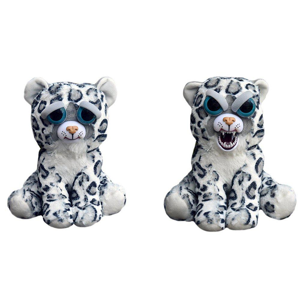 Fancy Adorable Plush Stuffed Polar Snow Leopard Toy with Face-changing Function