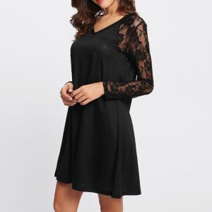 V-neck Lace Patchwork Dress -