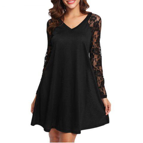 Hot V-neck Lace Patchwork Dress