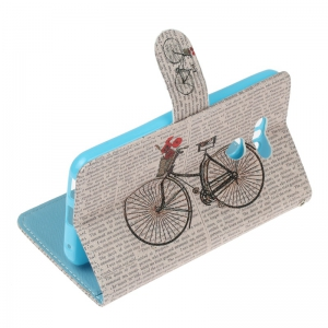 Bicycle Painting Card Lanyard Pu Leather Cover for LG G6 -