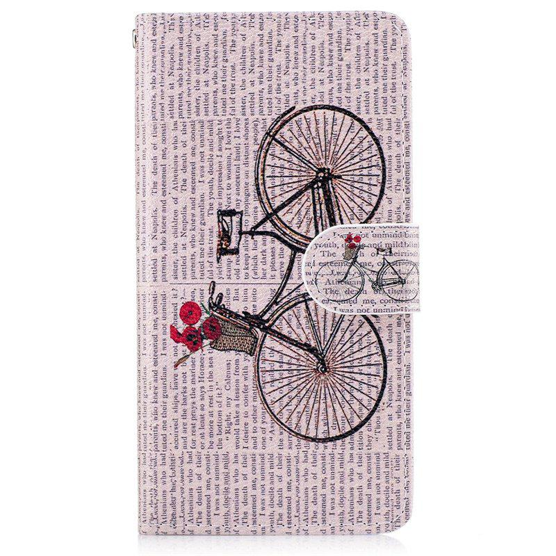 Cheap Bicycle Painting Card Lanyard Pu Leather Cover for LG G6