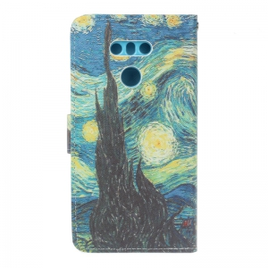 Dog Painting Card Lanyard Pu Leather Cover for LG G6 -
