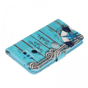 Blue Cat Painting Card Lanyard Pu Leather Cover for LG G6 -