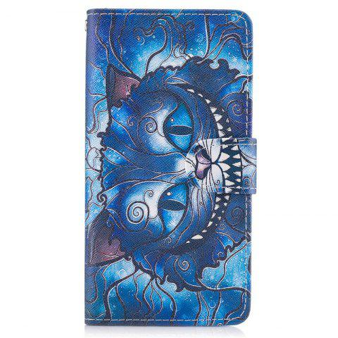 Trendy Blue Cat Painting Card Lanyard Pu Leather Cover for LG G6