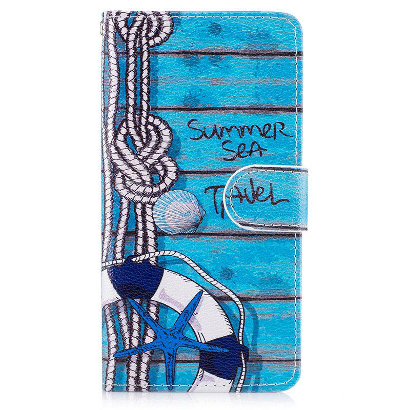 Latest Blue Cat Painting Card Lanyard Pu Leather Cover for LG G6