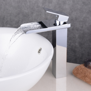 Chrome Contemporary Waterfall Bathroom Sink Lavatory Vessel Mixer Faucet -