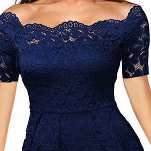 2017 Summer Embroidery Sexy Women Lace Off Shoulder  Short Sleeve Casual Evening Party A Line Formal Dress -