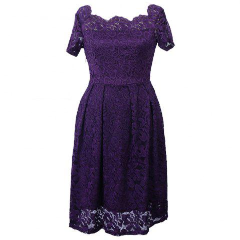 Trendy 2017 Summer Embroidery Sexy Women Lace Off Shoulder  Short Sleeve Casual Evening Party A Line Formal Dress