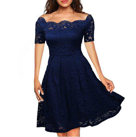 Online 2017 Summer Embroidery Sexy Women Lace Off Shoulder  Short Sleeve Casual Evening Party A Line Formal Dress