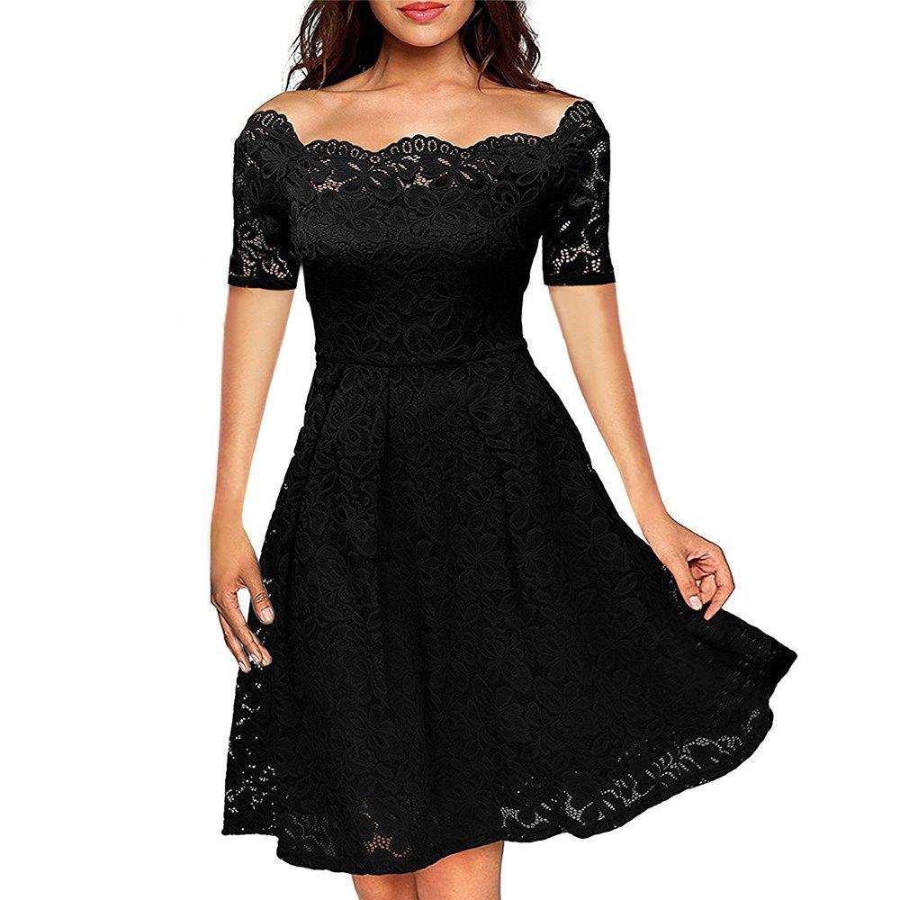 Shops 2017 Summer Embroidery Sexy Women Lace Off Shoulder  Short Sleeve Casual Evening Party A Line Formal Dress