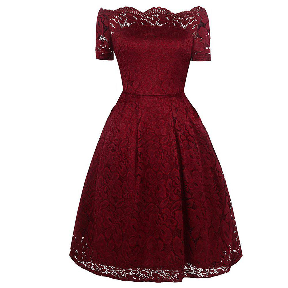 Outfits 2017 Summer Embroidery Sexy Women Lace Off Shoulder  Short Sleeve Casual Evening Party A Line Formal Dress
