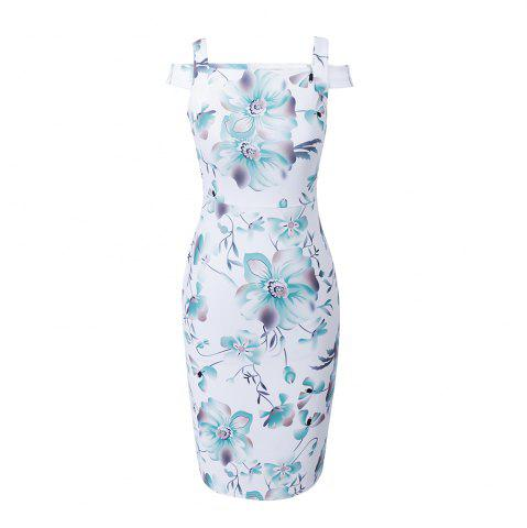 Fashion Summer White Vintage Floral Print   Off Shoulder   Women Casual Female Party Bodycon Pencil Dress