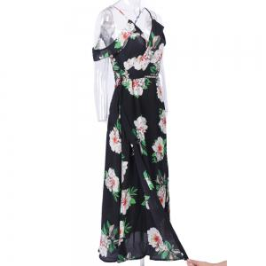 Woman Summer Sleeveless Floral Prited Chiffon Sexy V Neck Long Maxi Dress -