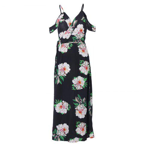 Unique Woman Summer Sleeveless Floral Prited Chiffon Sexy V Neck Long Maxi Dress