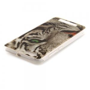 The Tiger Pattern Soft Clear IMD TPU Phone Casing Mobile Smartphone Cover Shell Case for ZTE Blade A610 -